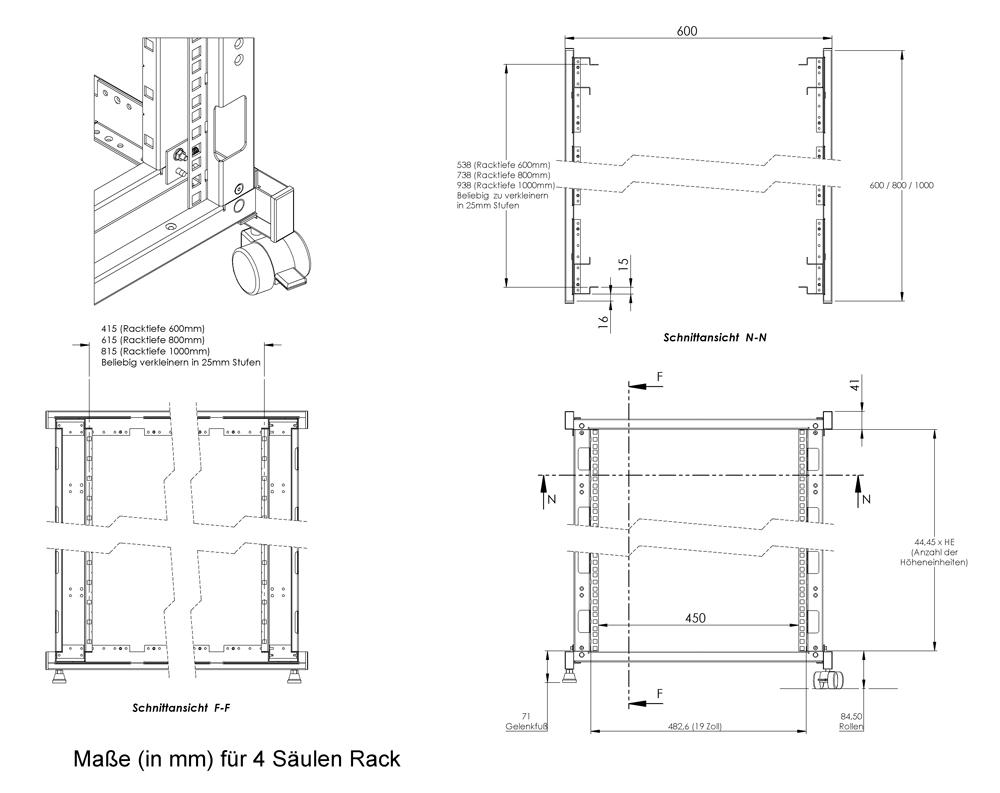 rack magic 42he rackrahmen 600mm tiefe 48 3cm 19 zoll 19 serverschrank b ebay. Black Bedroom Furniture Sets. Home Design Ideas